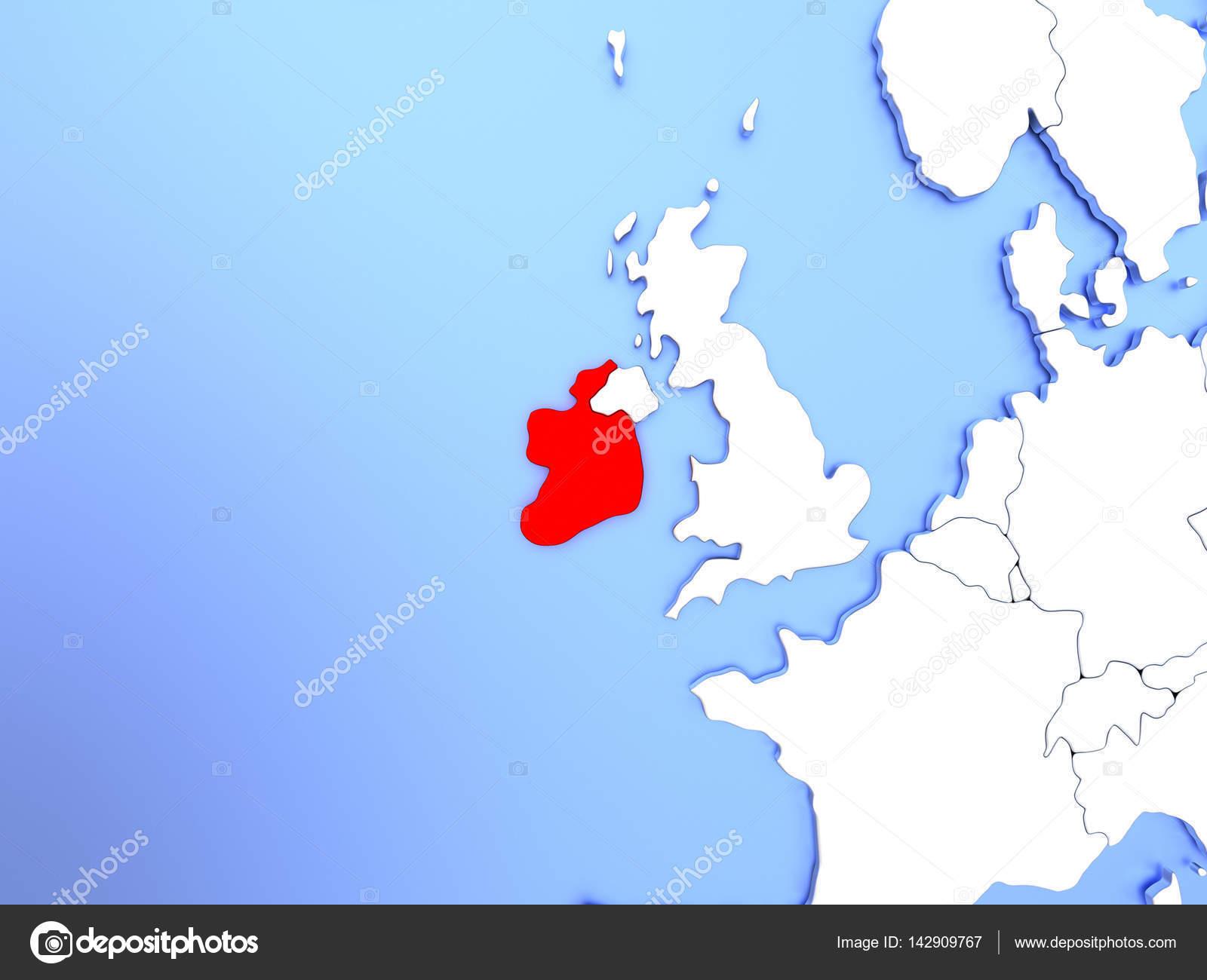 Carte Irlande Simple.Irlande En Rouge Sur La Carte Photographie Tom Griger