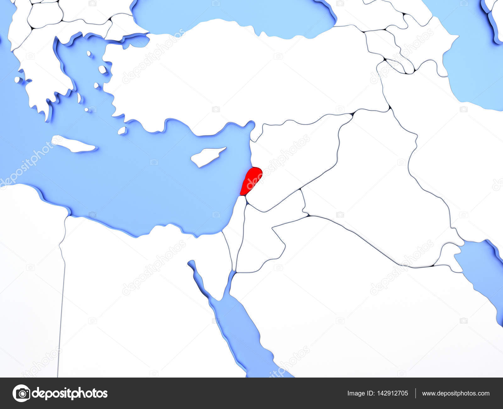 map of lebanon highlighted in red on simple shiny metallic map with clear country borders 3d illustration photo by tomgriger
