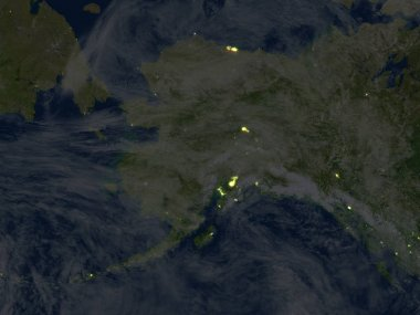 Alaska at night on planet Earth
