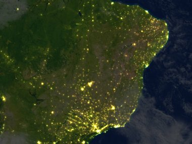 West of South America at night on planet Earth