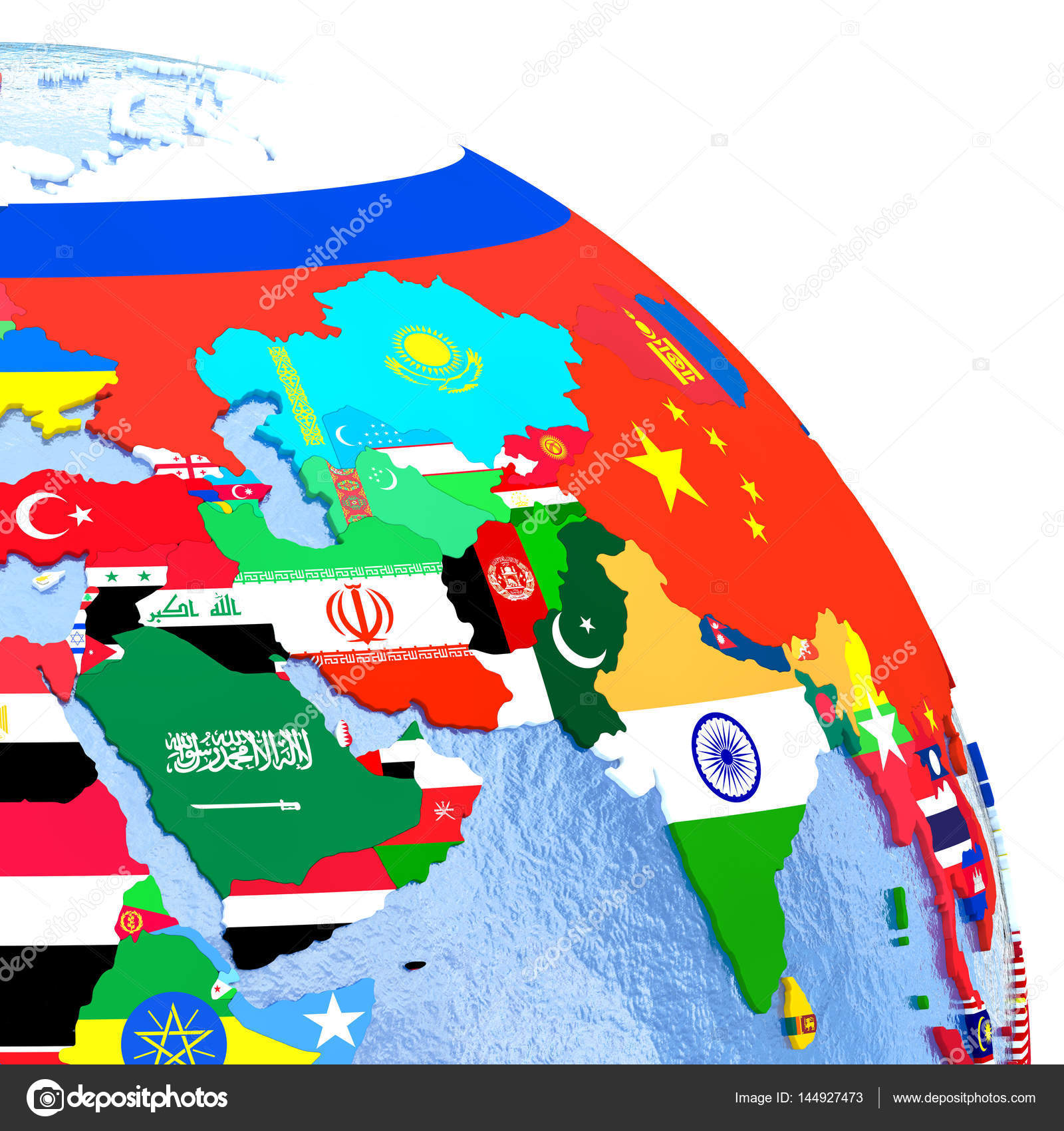 asia on political globe with national flags embedded in map 3d illustration photo by tomgriger