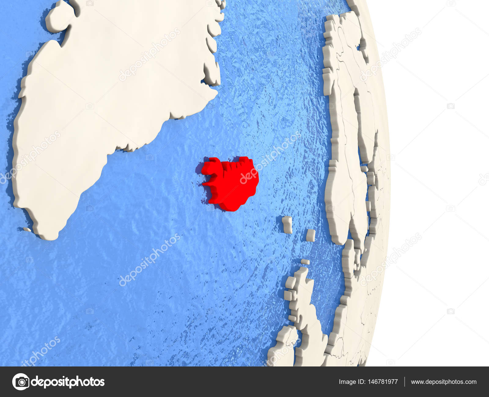 Iceland on model of political globe stock photo tomiger map of iceland on globe with blue watery seas 3d illustration photo by tomiger gumiabroncs