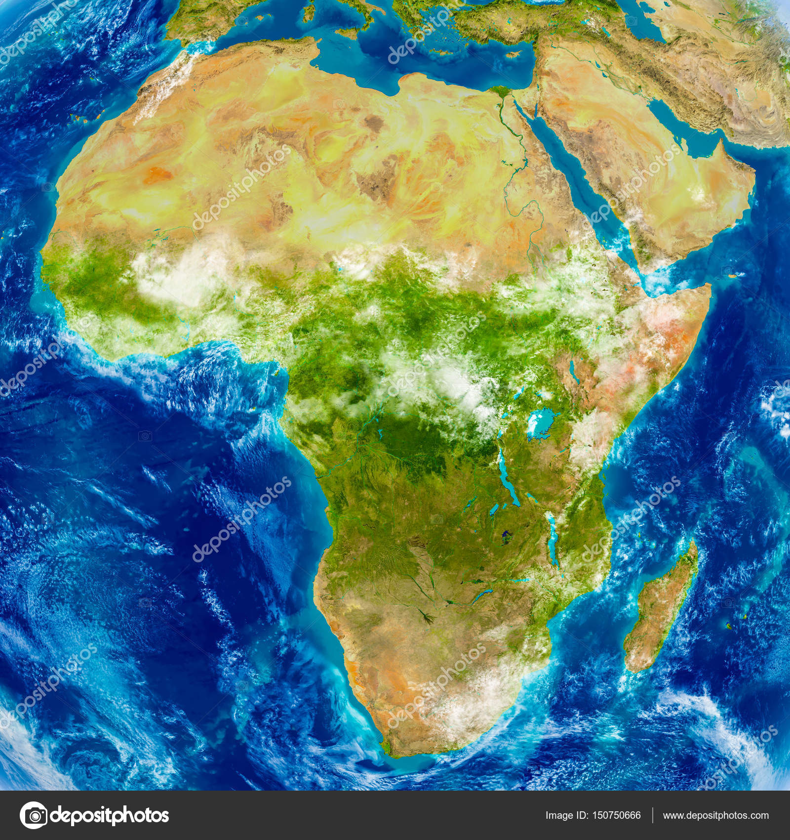 Africa on physical map stock photo tomiger 150750666 africa on physical world map 3d illustration with detailed planet surface elements of this image furnished by nasa photo by tomiger gumiabroncs Image collections