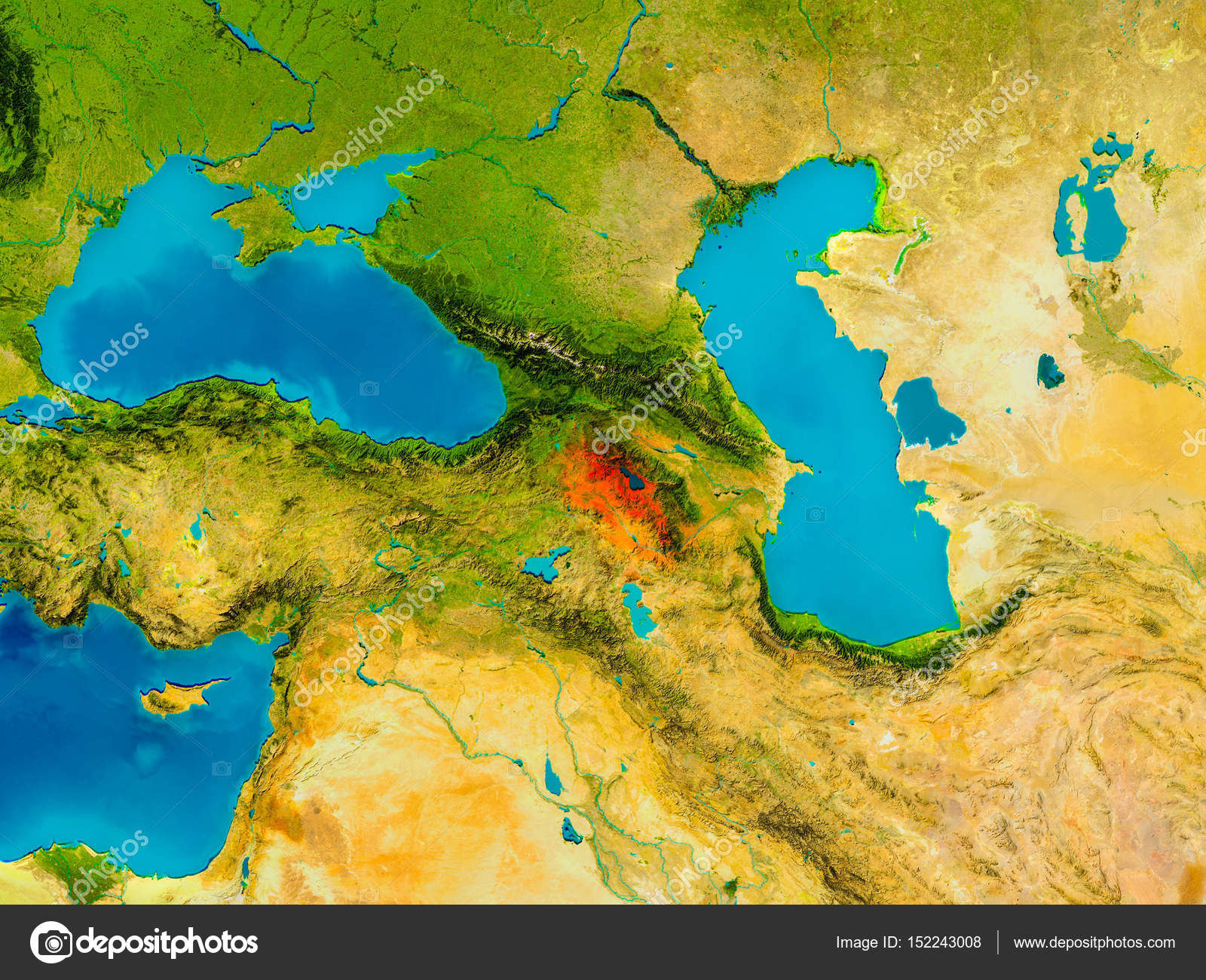 Armenia on physical map — Stock Photo © tom.griger #152243008