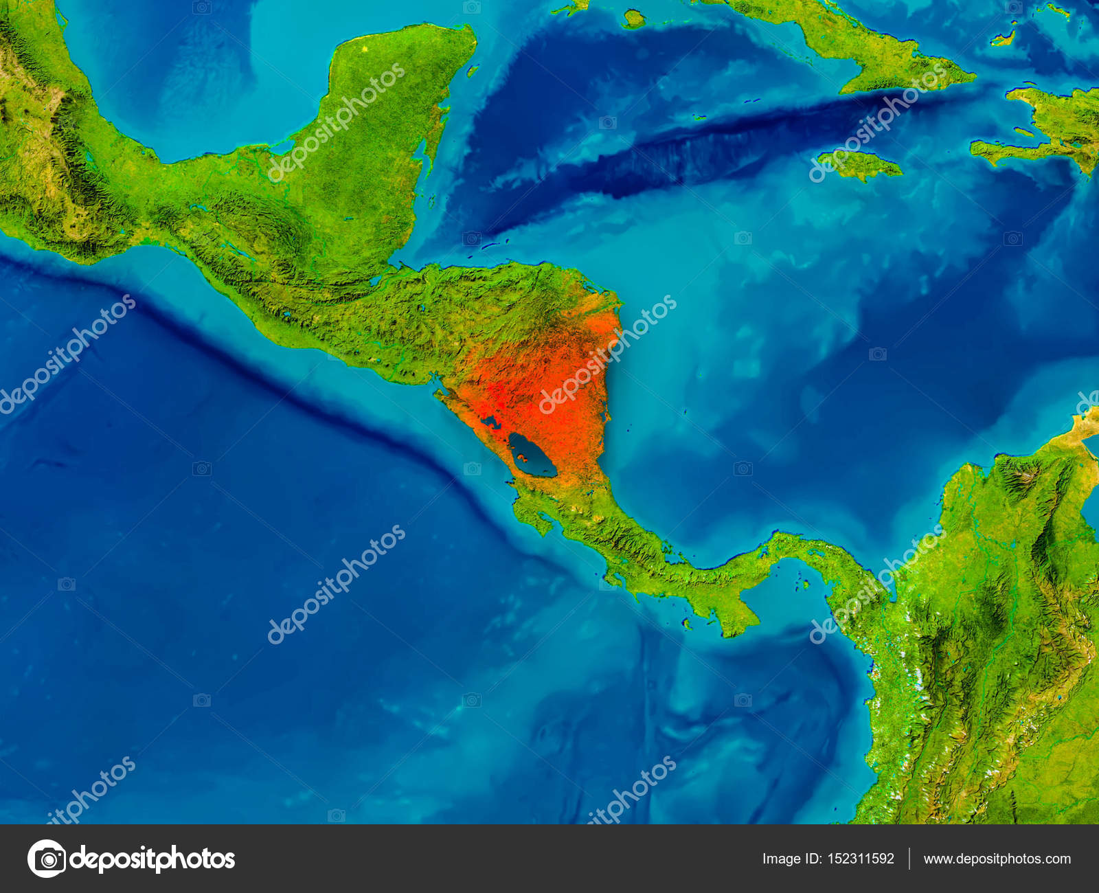 Nicaragua on physical map Stock Photo tomgriger 152311592