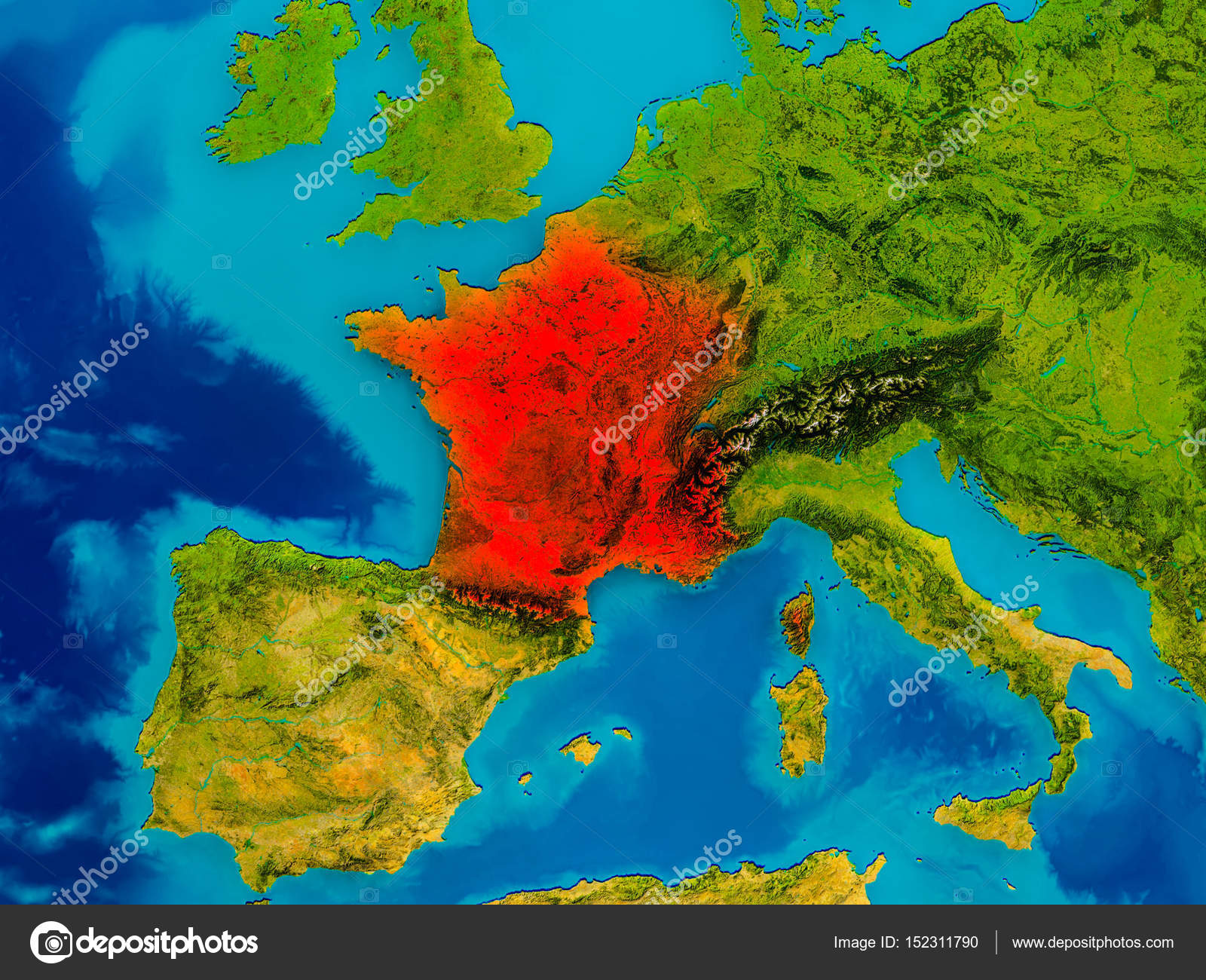 France on physical map — Stock Photo © tom.griger #152311790