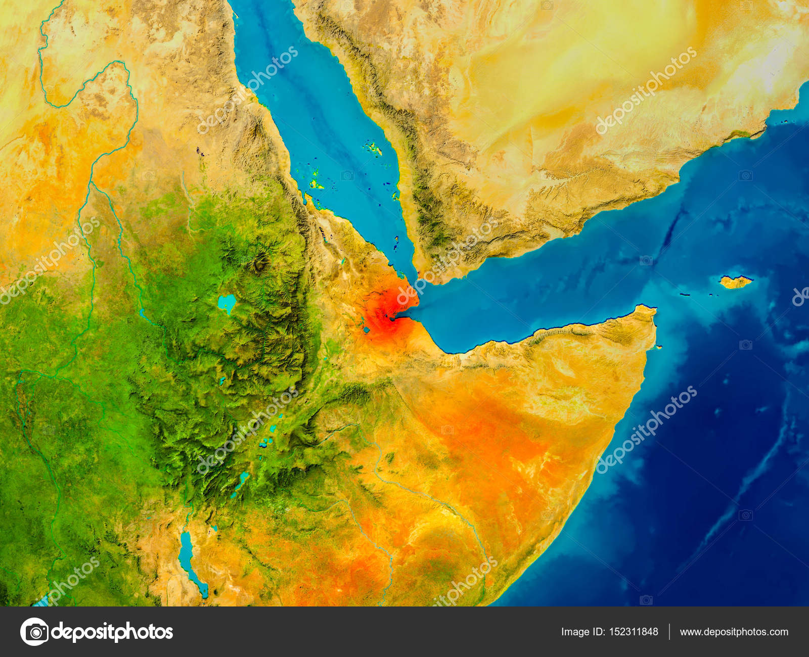 Djibouti on physical map Stock Photo tomgriger 152311848