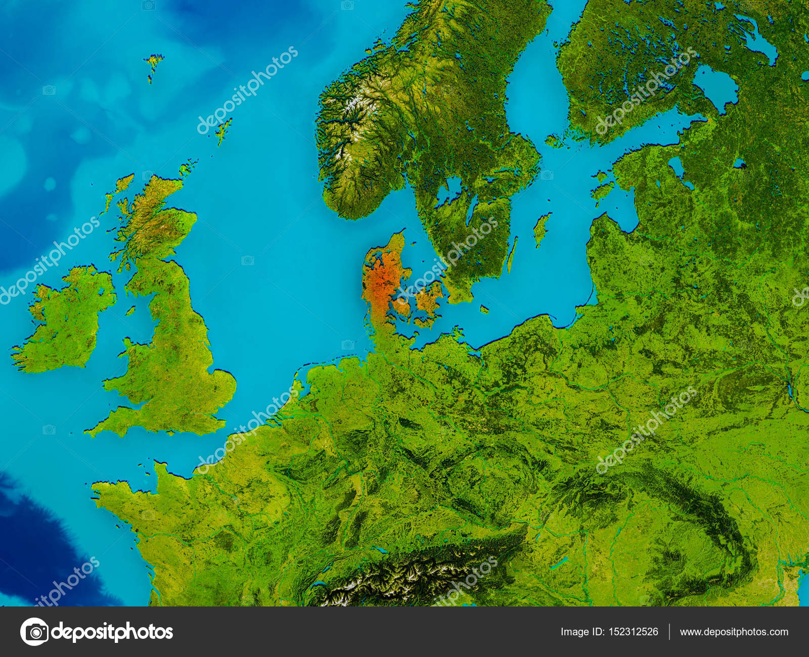 Image of: Denmark On Physical Map Stock Photo C Tom Griger 152312526