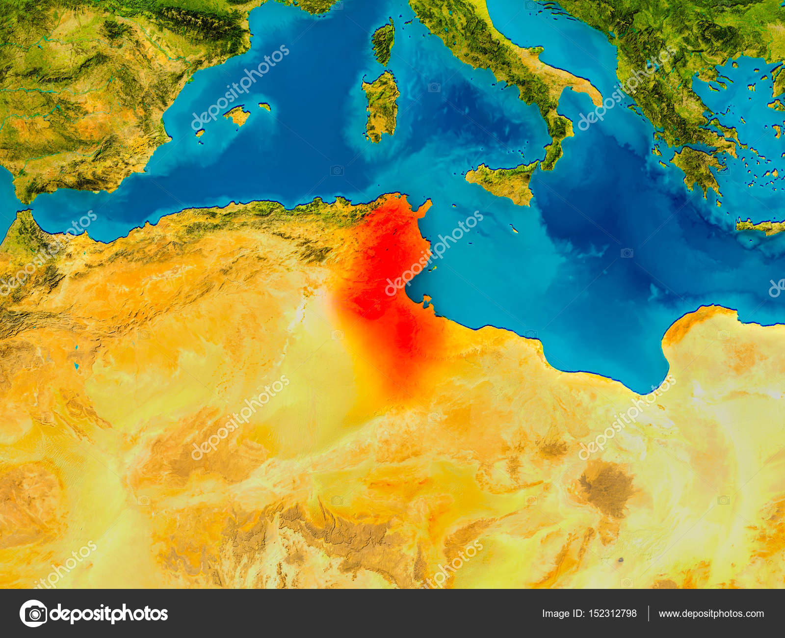 Picture of: Tunisia On Physical Map Stock Photo C Tom Griger 152312798