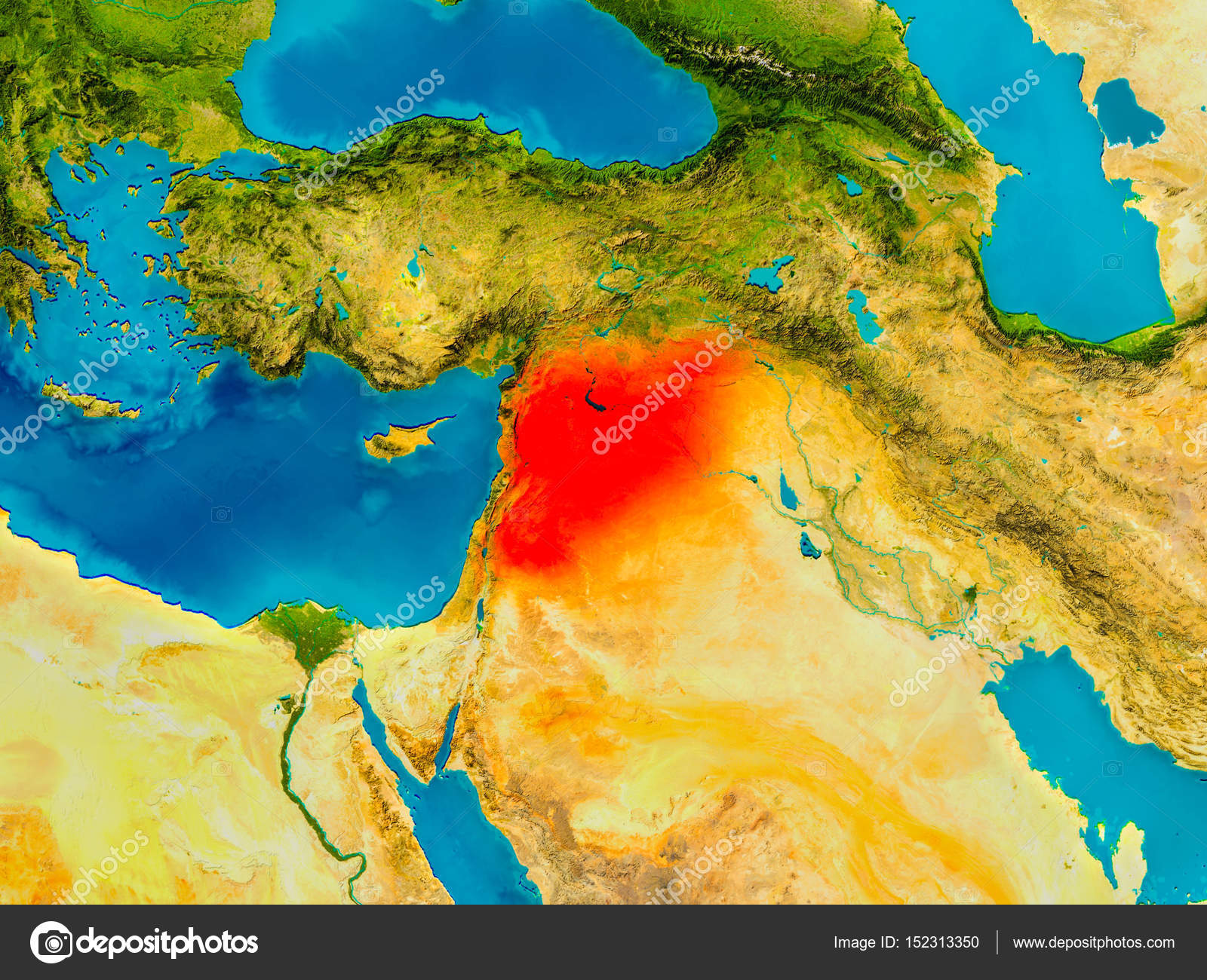 syria on physical map stock photo