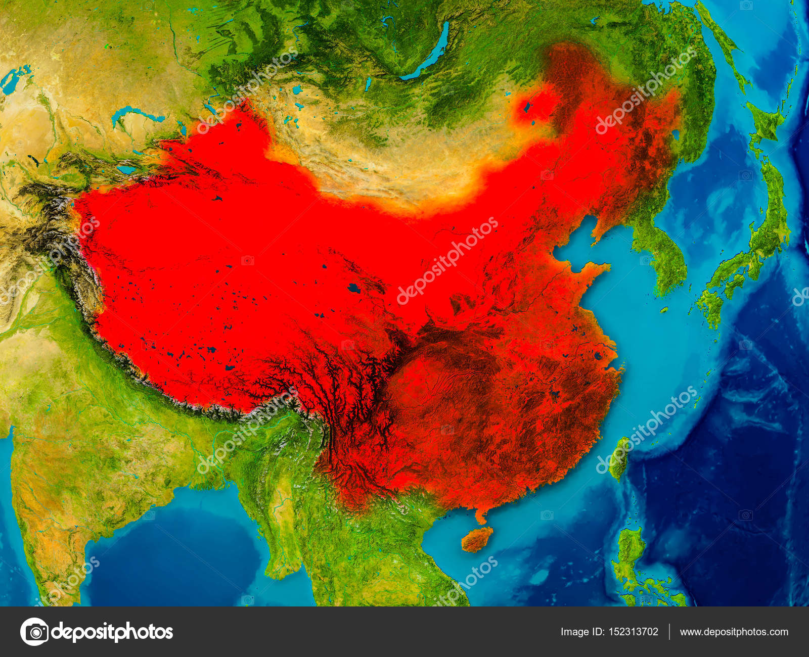 China Karte Physisch.China Auf Physische Karte Stockfoto Tom Griger 152313702