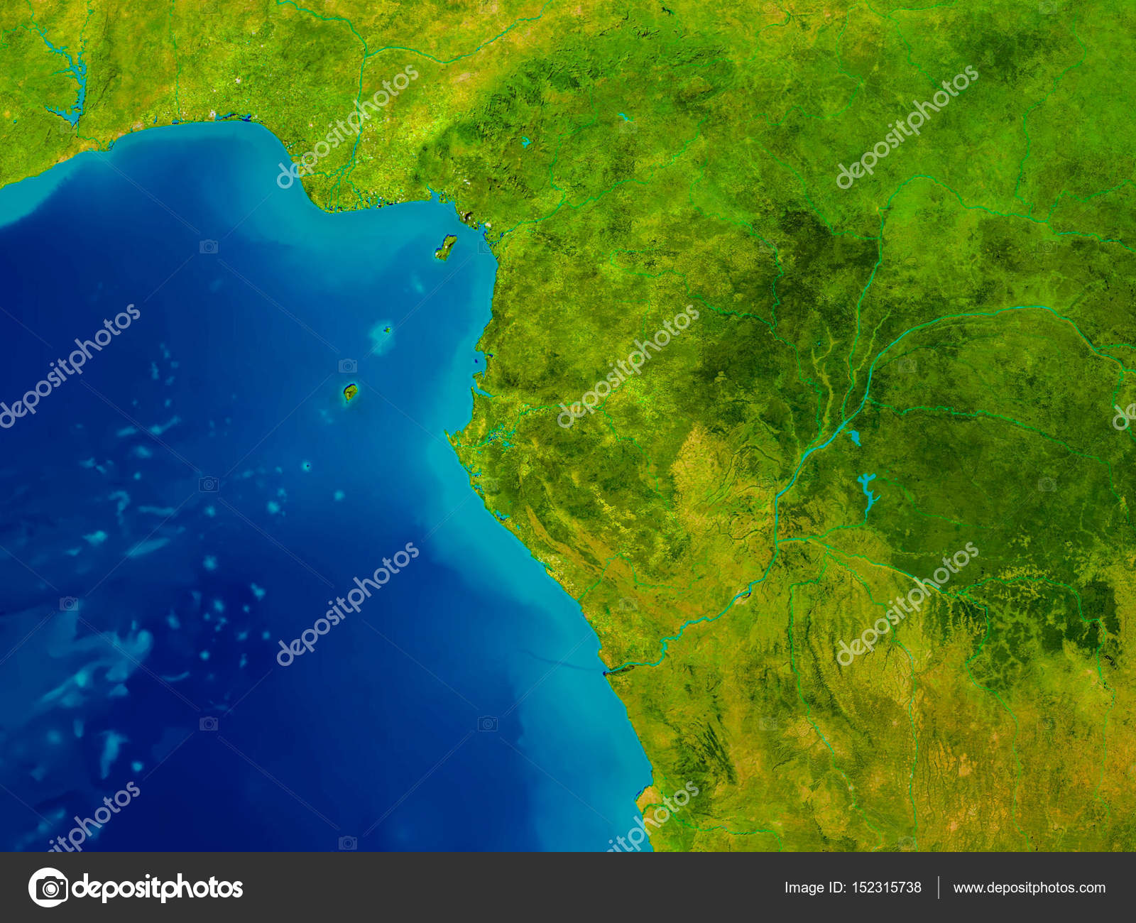 Gabon on physical map Stock Photo tomgriger 152315738