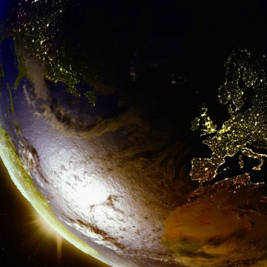 Sunset above Europe and North America from space