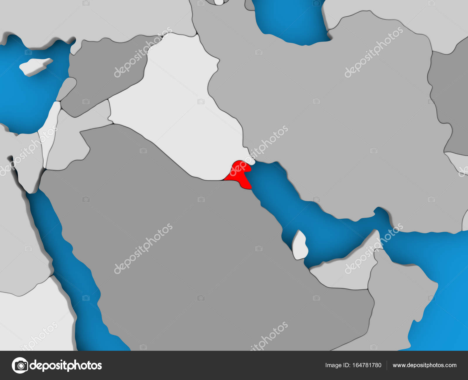 Kuwait Political Map.Map Of Kuwait Stock Photo C Tom Griger 164781780