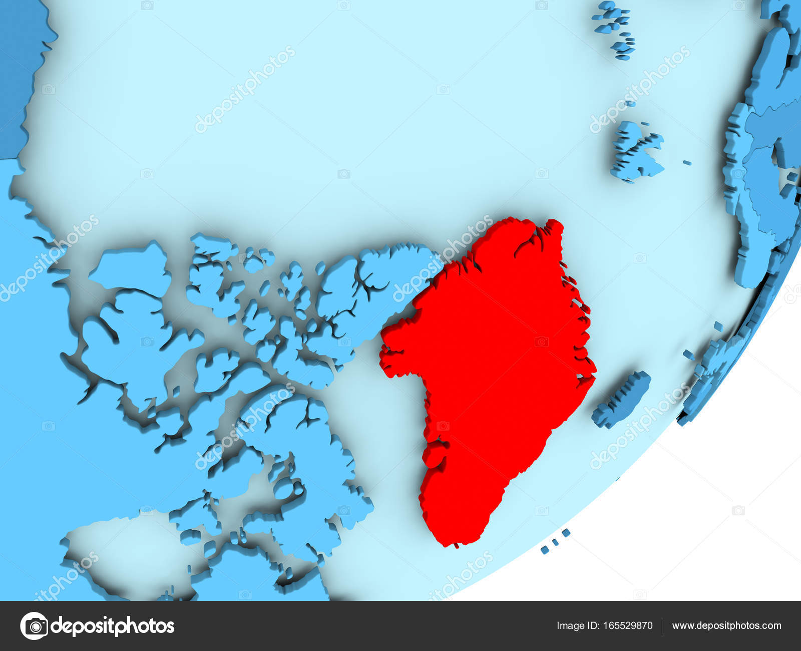 Map Of Greenland On Blue Political Globe Stock Photo C Tom Griger