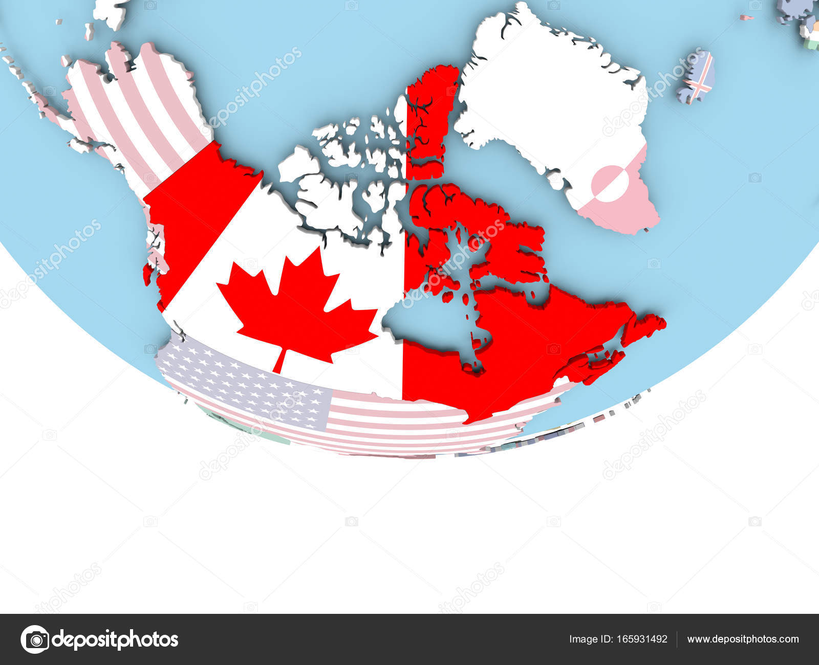 Map Of Canada On Globe.Map Of Canada With Flag On Globe Stock Photo C Tom Griger 165931492