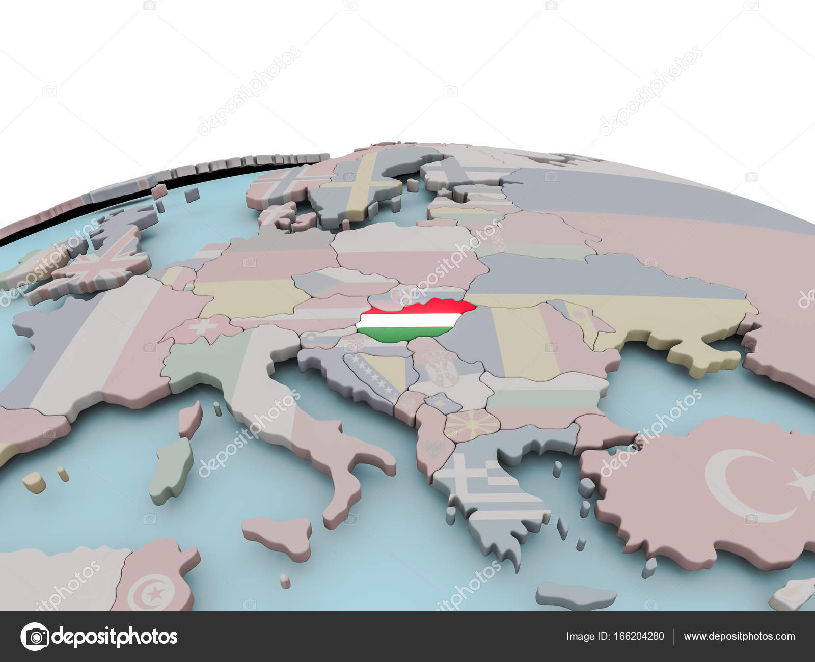 Political map of Hungary on globe with flag Stock Photo tom