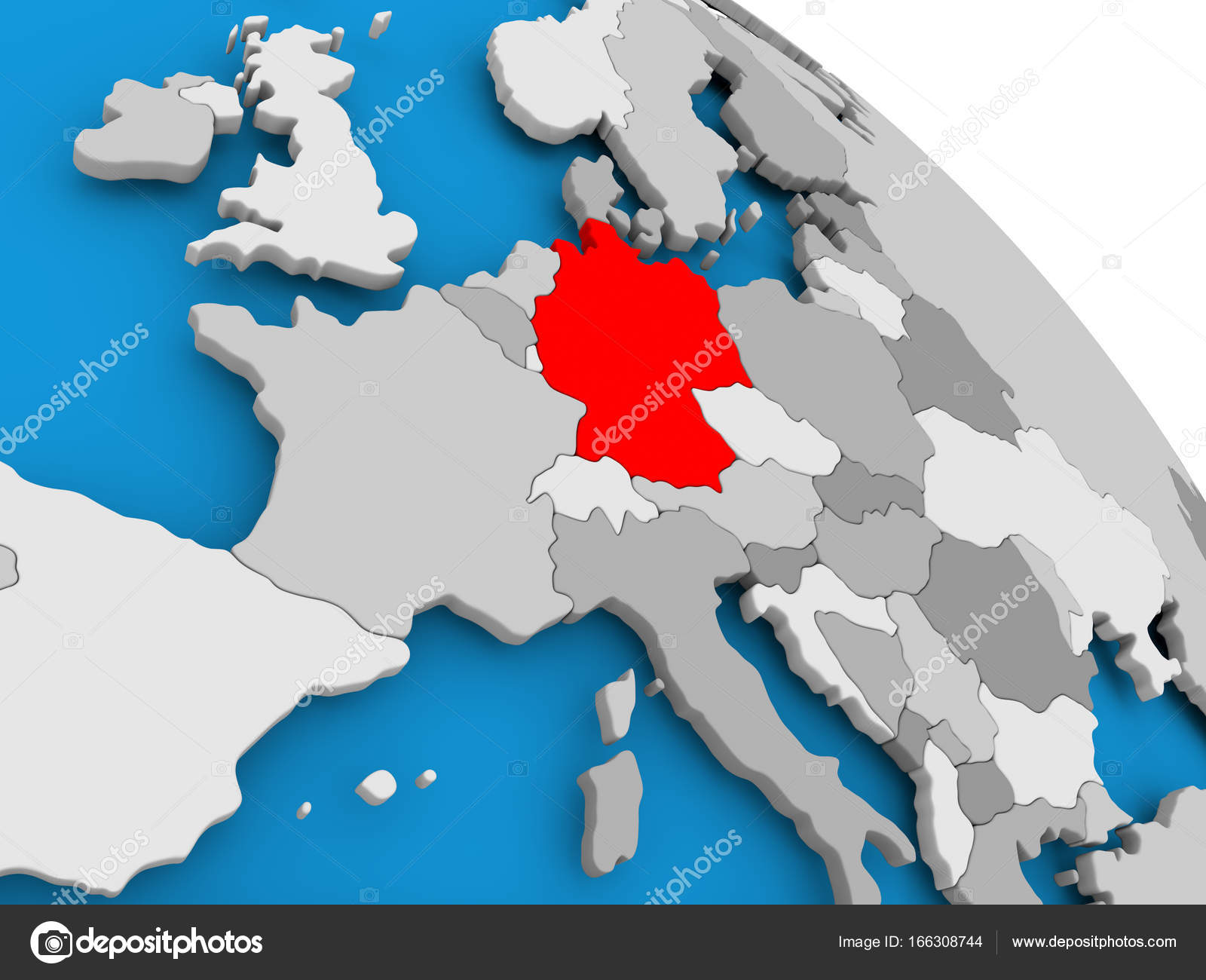 Germany in red on map stock photo tomiger 166308744 illustration of germany highlighted in red on globe 3d illustration photo by tomiger gumiabroncs Choice Image