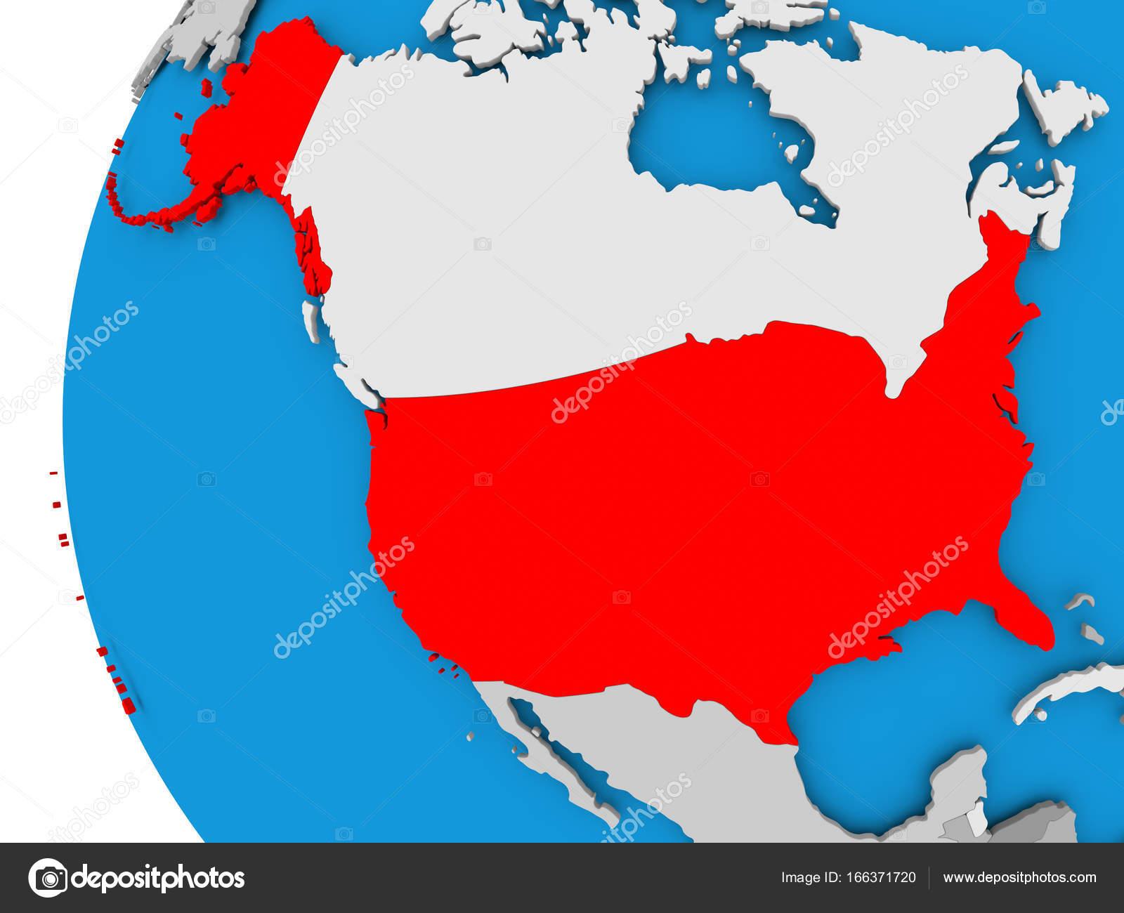 Cartina Stati Uniti D America Politica.Mappa Di Stati Uniti D America Sul Globo Politico Foto