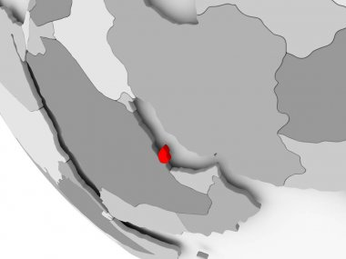 Map of Qatar in red
