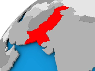 Map of Pakistan in red