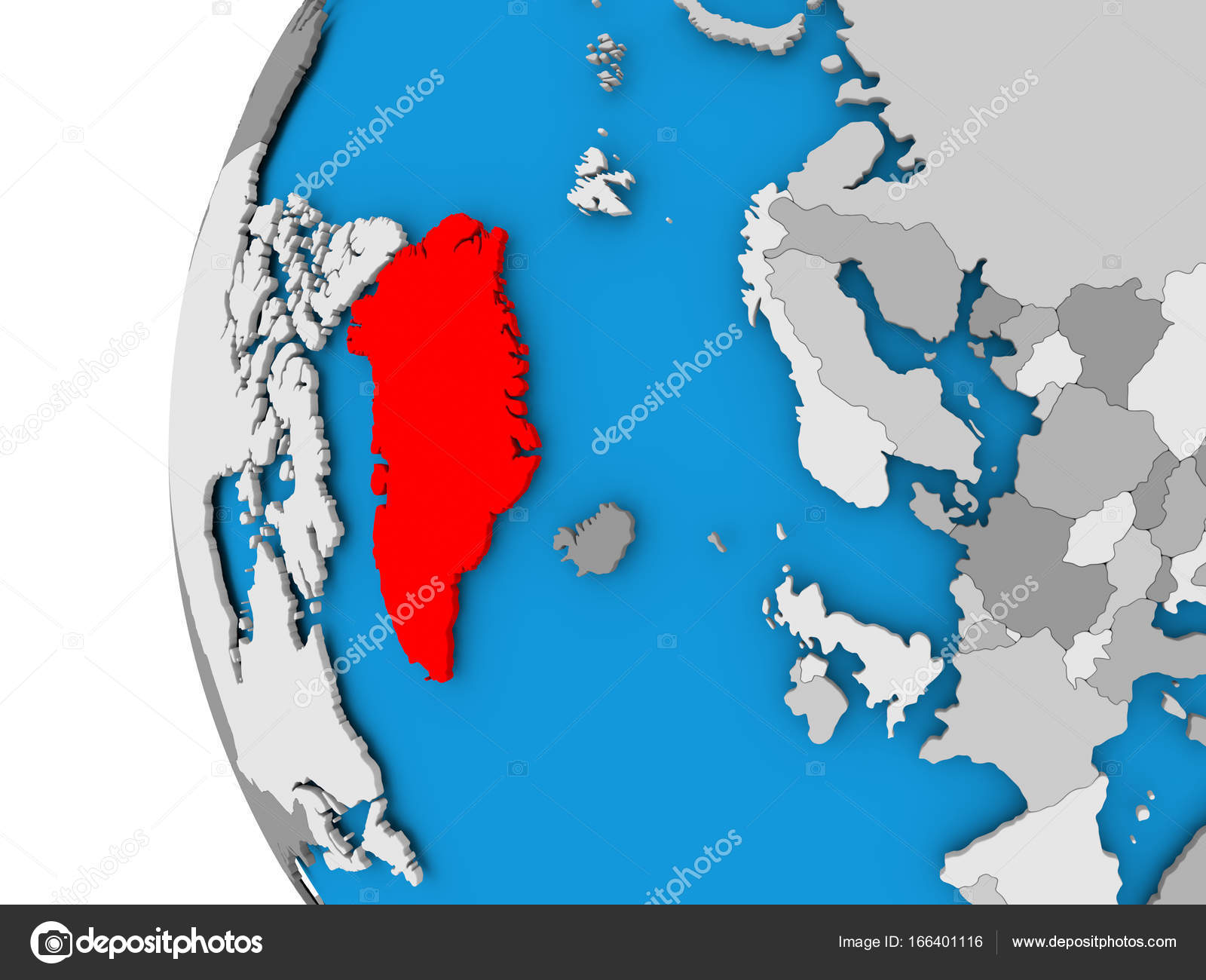 Map Of Greenland On Political Globe Stock Photo C Tom Griger