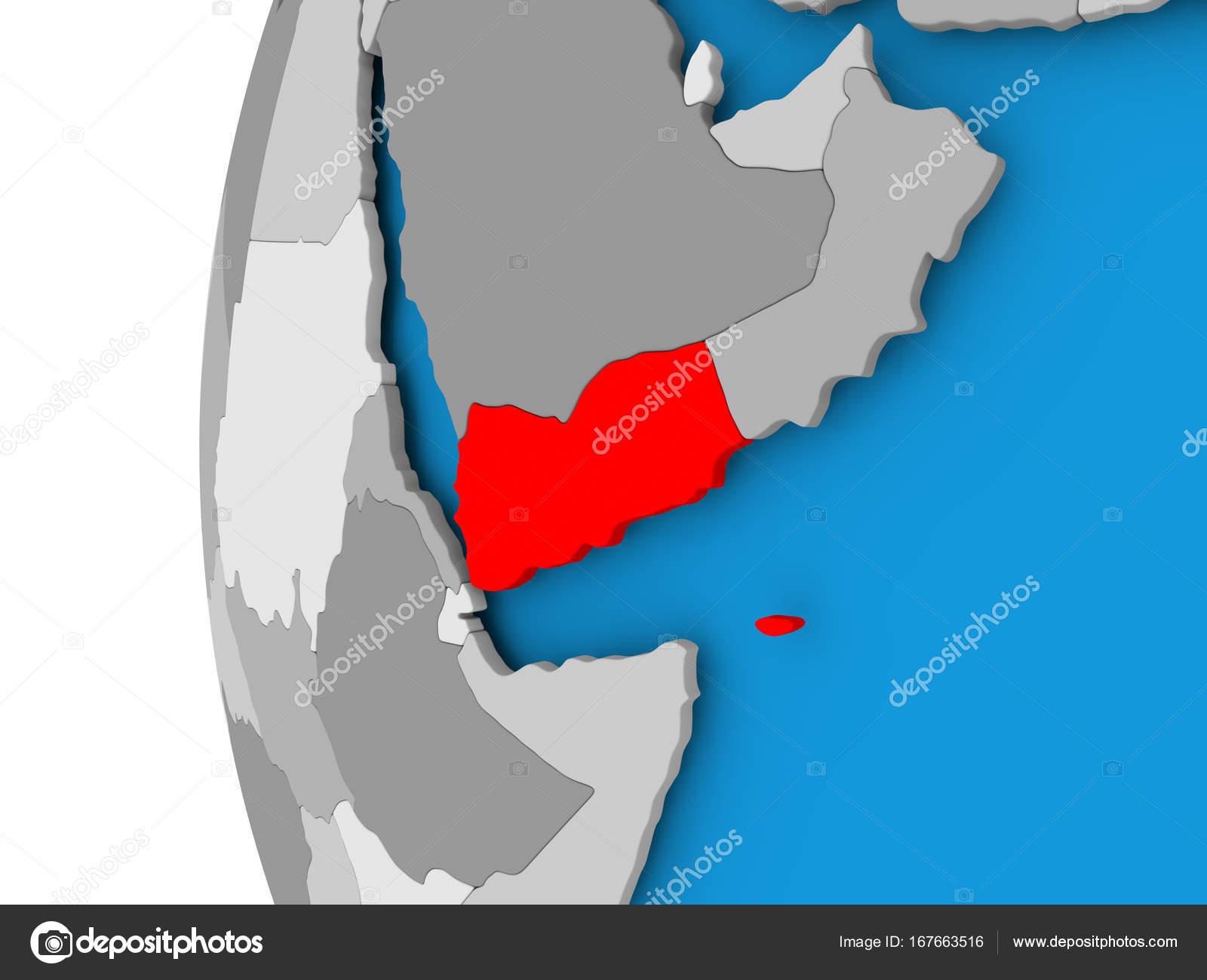 Political Map Of Yemen.Map Of Yemen On Political Globe Stock Photo C Tom Griger 167663516