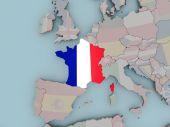 France on political globe with flag