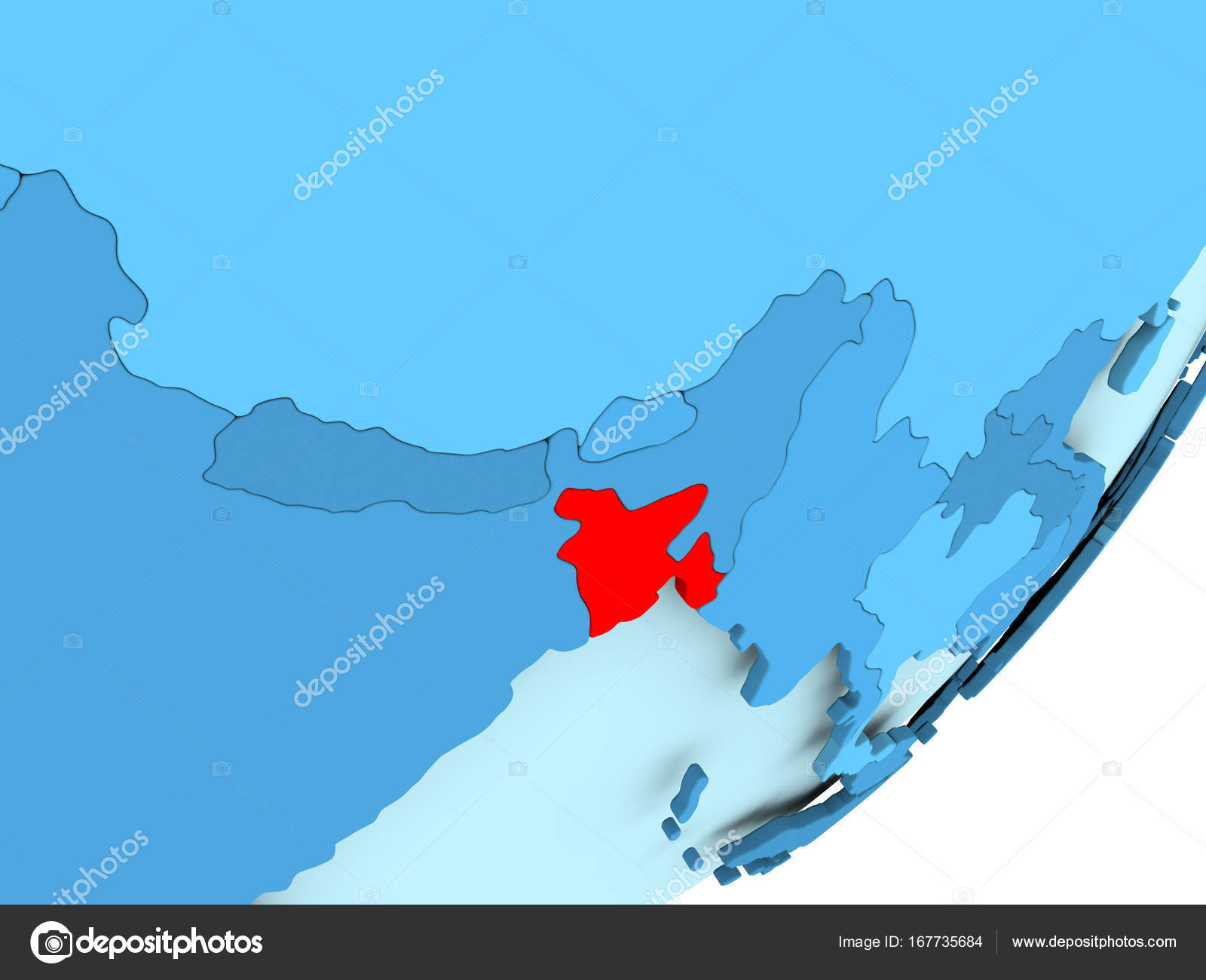 Map Of Bangladesh On Blue Political Globe Stock Photo C Tom Griger