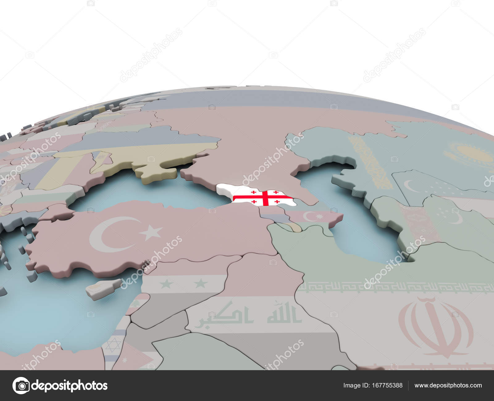 Political Map Of Georgia On Globe With Flag Stock Photo C Tom