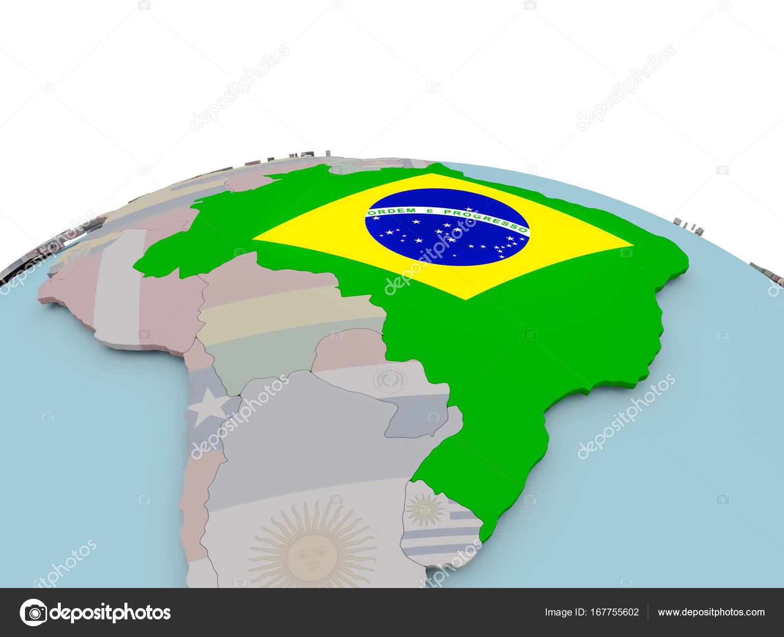 Brasilien Karte Welt.Politische Karte Von Brasilien Auf Globus Mit Flagge Stockfoto