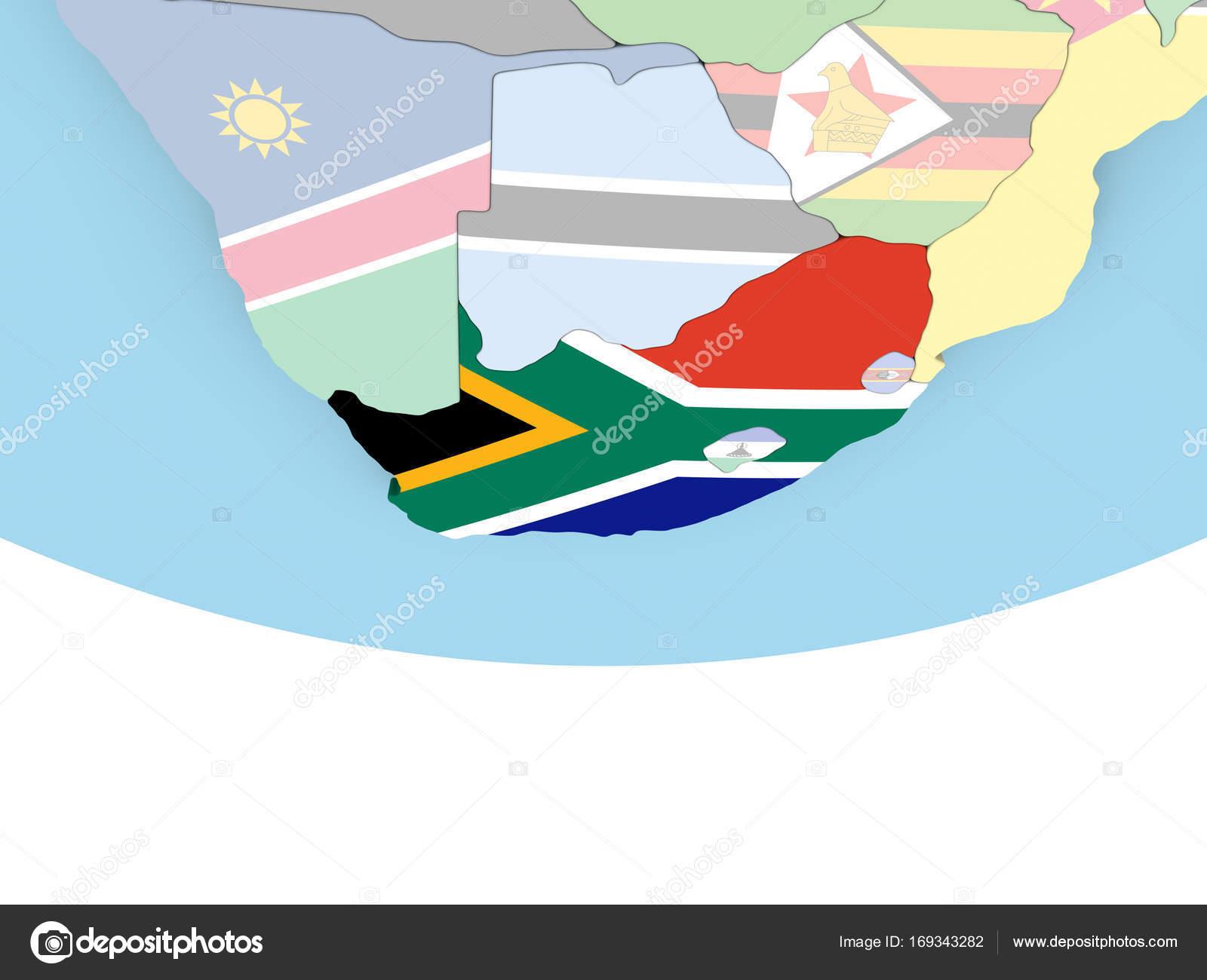Kaart Van Zuid Afrika Met Vlag Op De Wereldbol Stockfoto C Tom