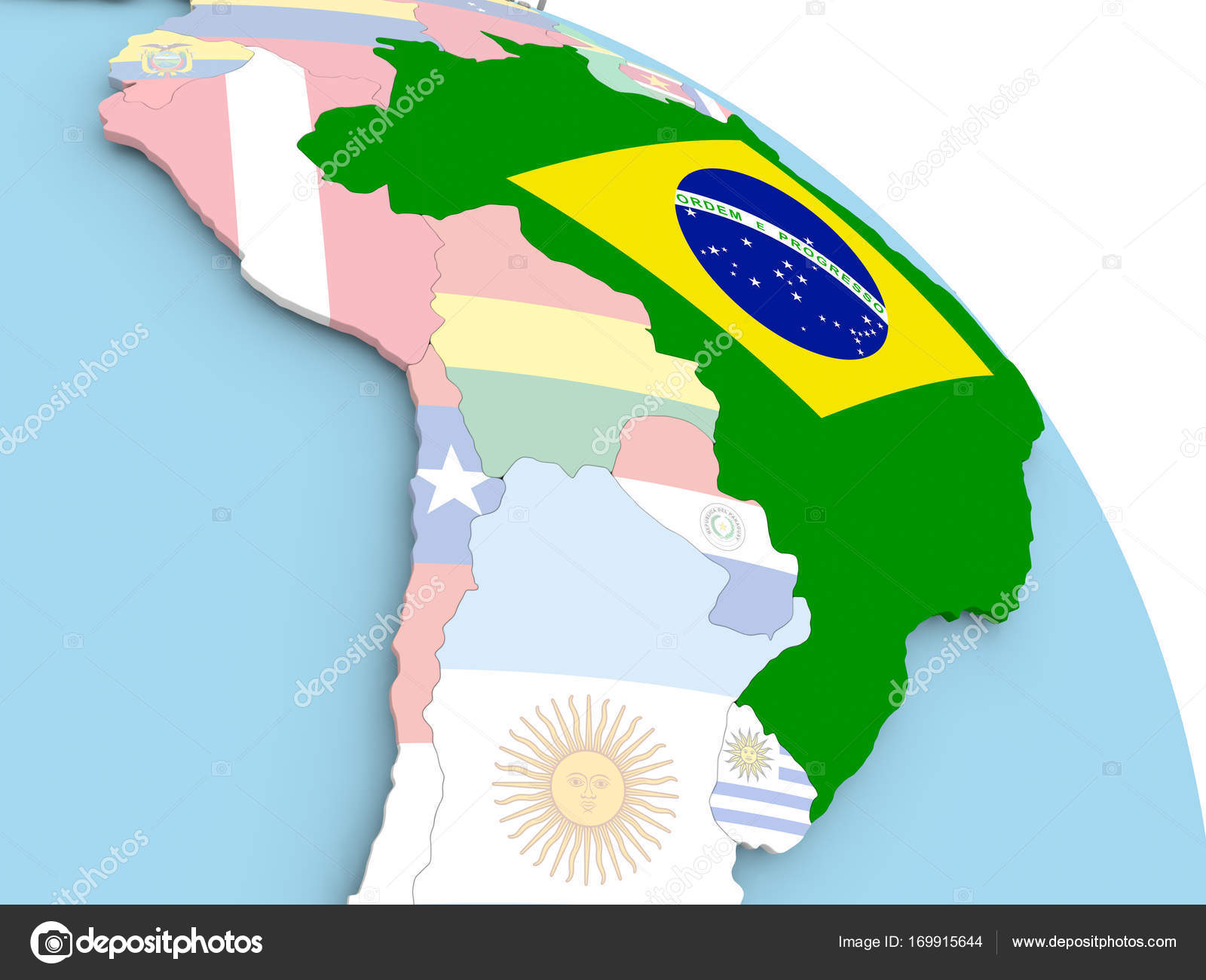Flag of brazil on globe stock photo tomiger 169915644 3d render of brazil with flag on bright globe 3d illustration photo by tomiger gumiabroncs Images