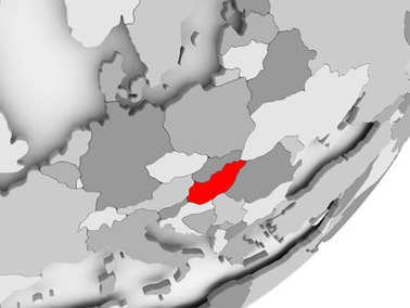 Hungary in red on grey map