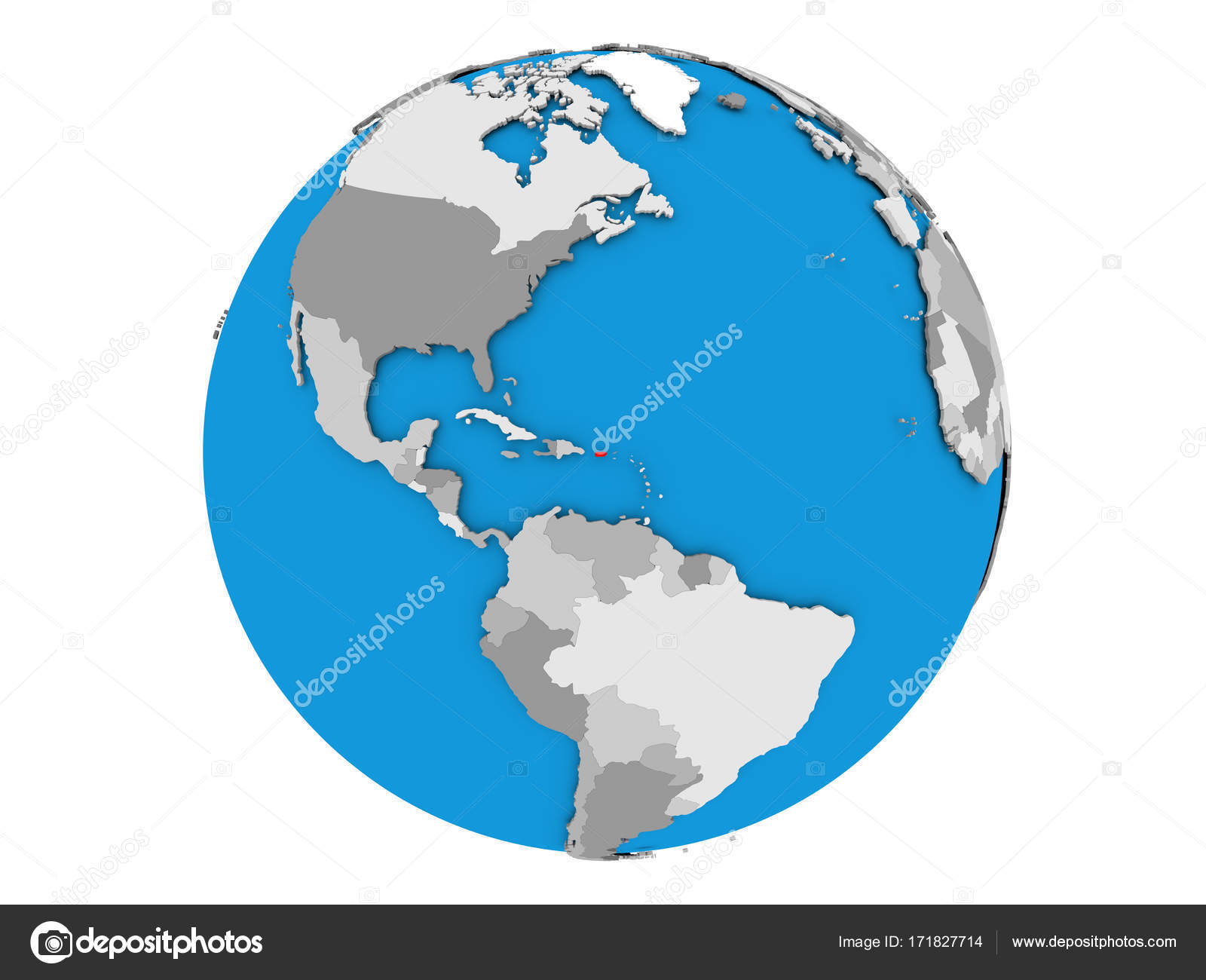 Puerto Rico On Globe Isolated Stock Photo C Tom Griger 171827714