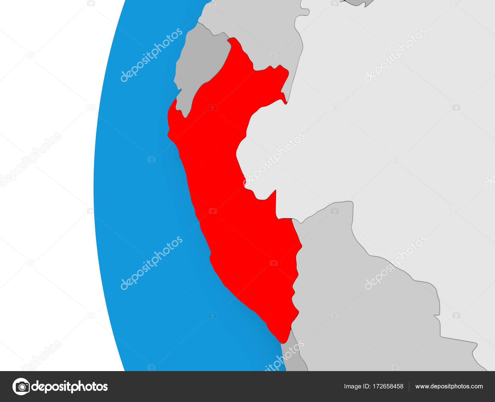Peru Karte.Karte Von Peru Auf Politische Globus Stockfoto Tom Griger 172658458