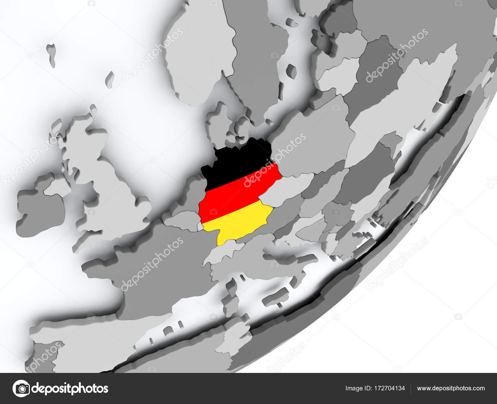 Flag of Germany on map Stock Photo tomgriger 172704134