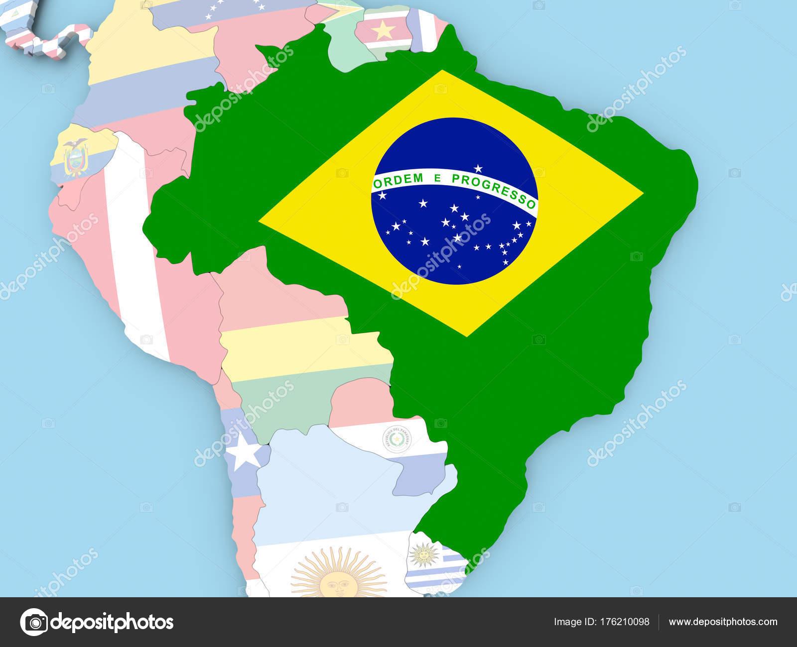 Brasilien Karte Welt.Karte Von Brasilien Mit Flagge Auf Der Ganzen Welt Stockfoto Tom