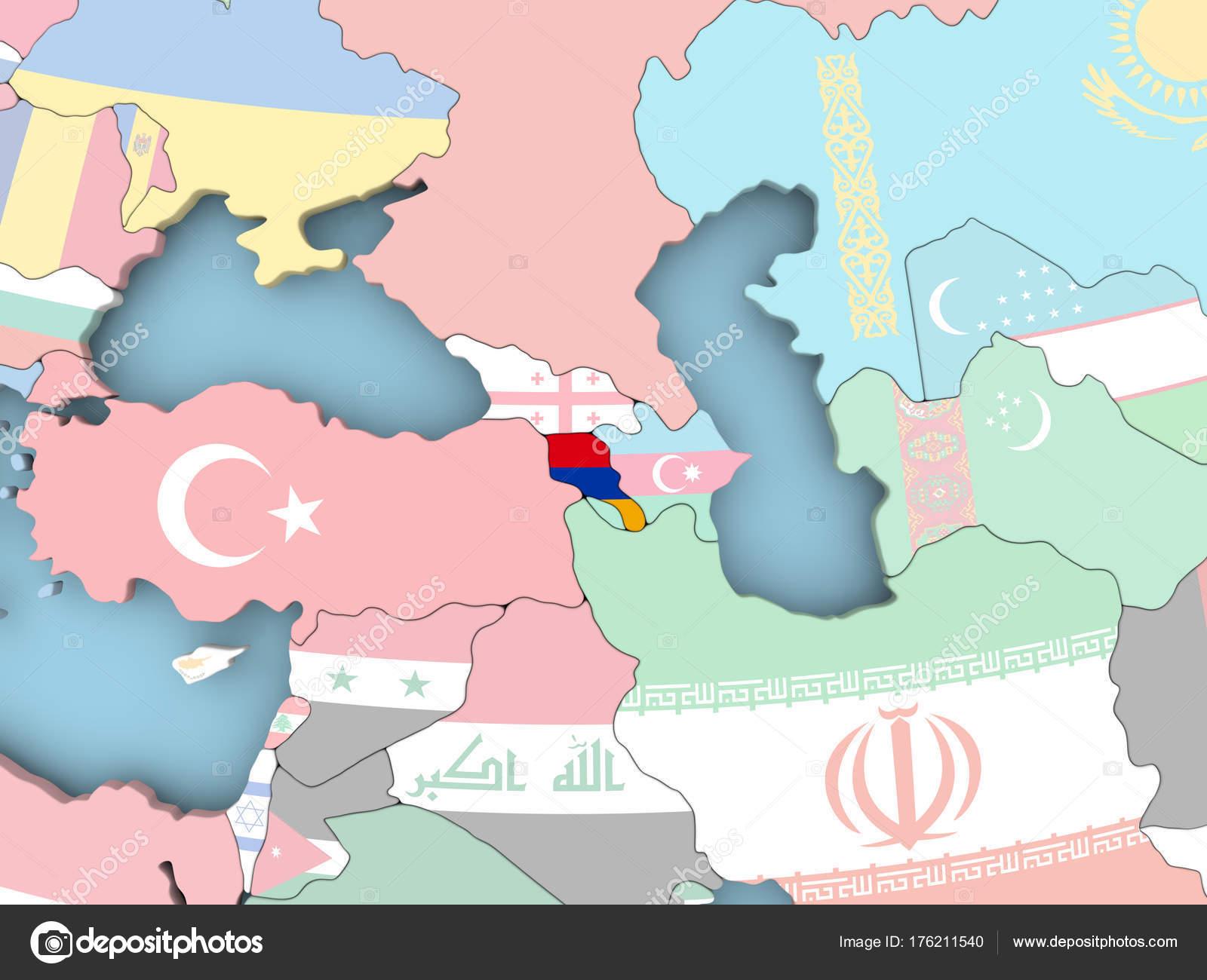 Armenien Karte.Karte Von Armenien Mit Flagge Auf Der Ganzen Welt