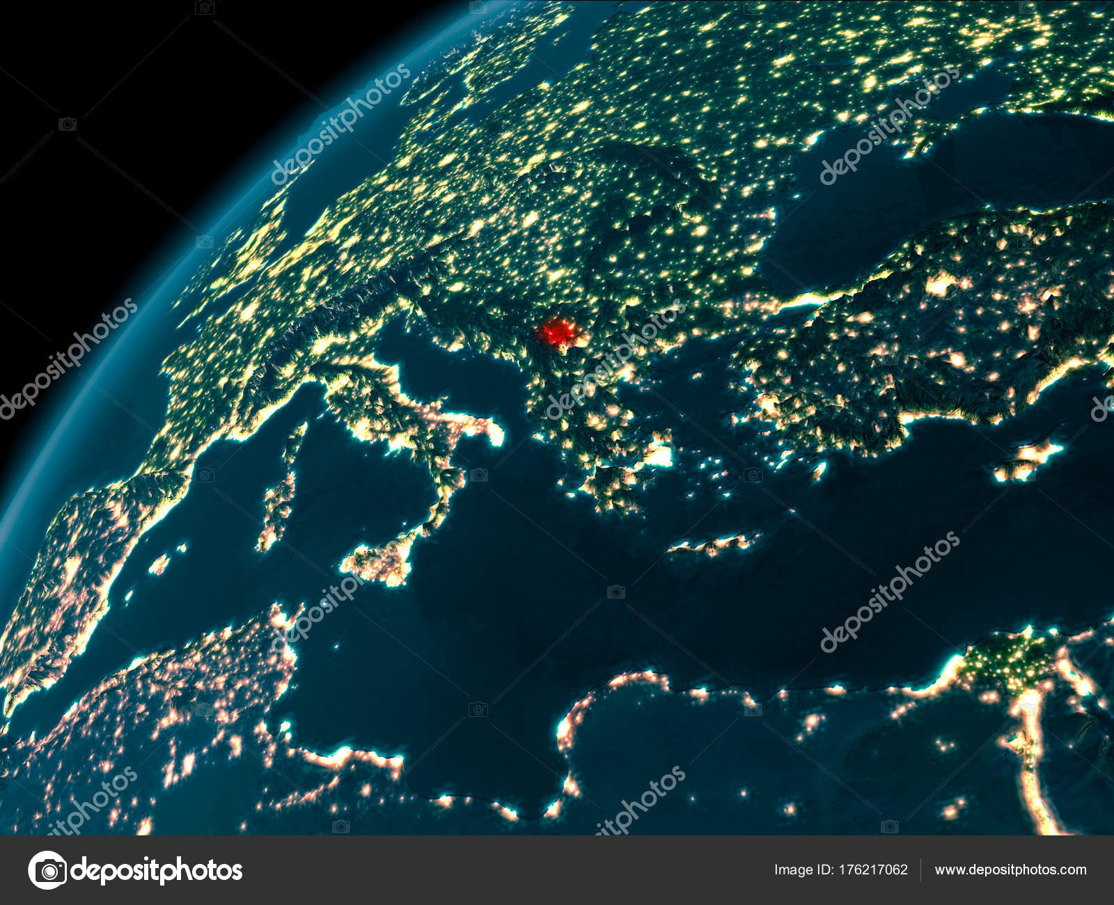 Kosovo At Night On Earth Stock Photo Tomgriger - Earth at night map