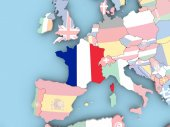 Map of France with flag on globe