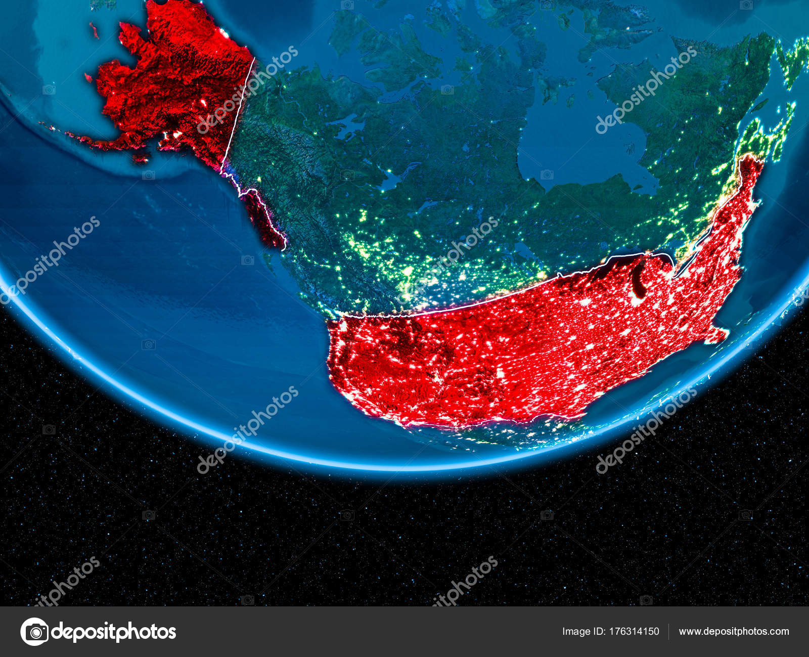 USA on planet Earth from space at night — Stock Photo © tom.griger ...