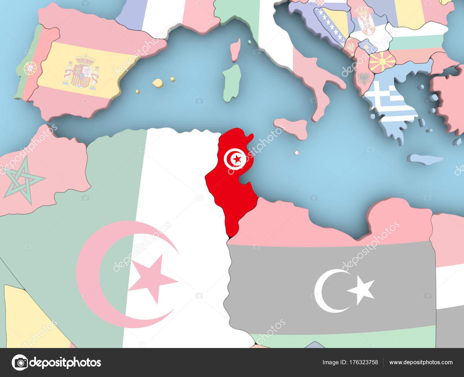 Tunesien Karte Welt.Karte Von Tunesien Mit Flagge Auf Der Ganzen Welt