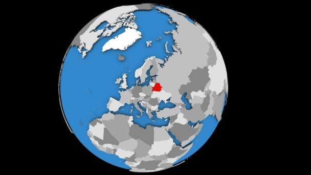 Zooming to Belarus on globe