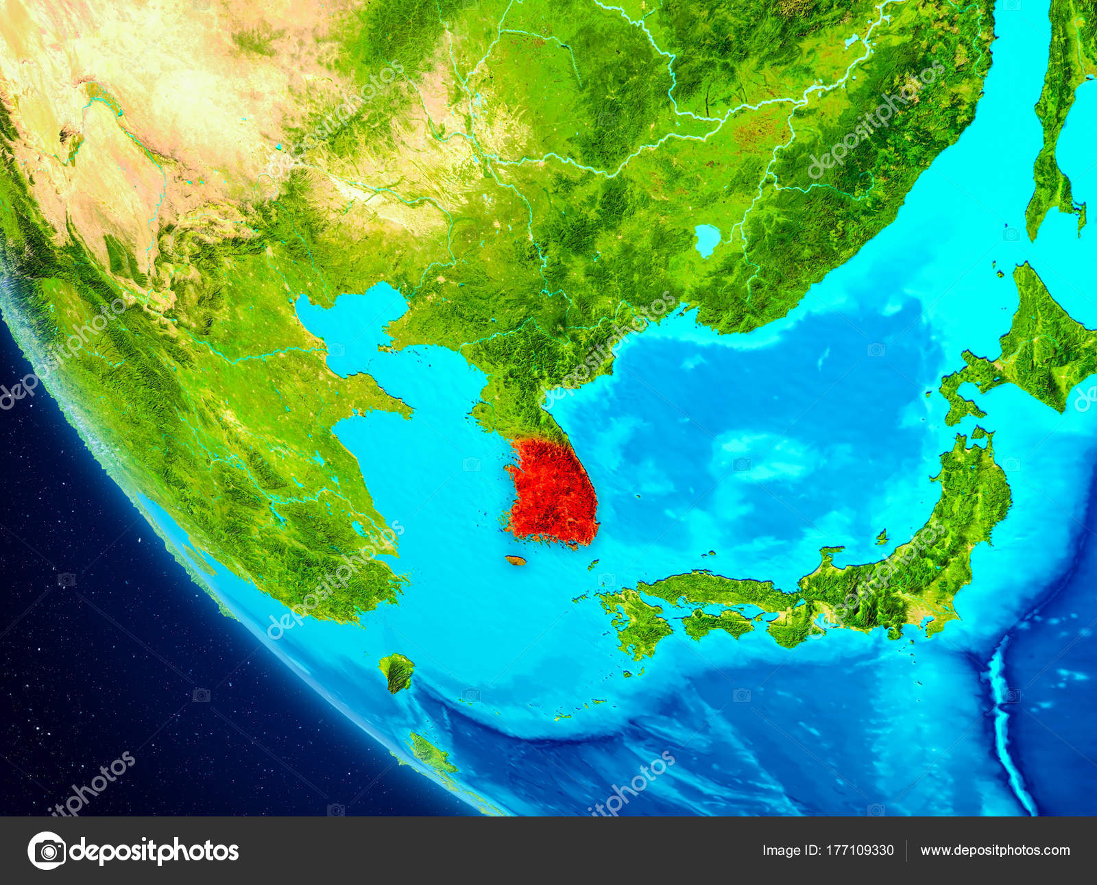 South korea on globe from space stock photo tomiger 177109330 south korea highlighted in red on planet earth 3d illustration elements of this image furnished by nasa photo by tomiger gumiabroncs Choice Image