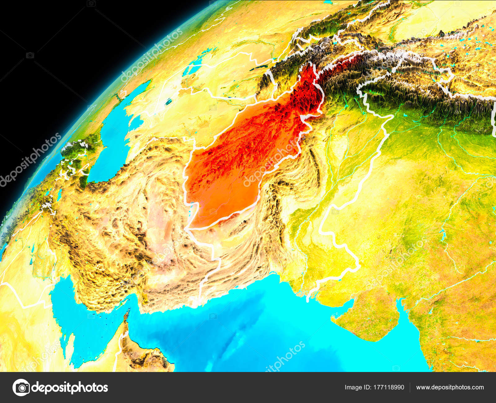 Afghanistan from space stock photo tomiger 177118990 orbit view of afghanistan highlighted in red with visible borderlines on planet earth 3d illustration elements of this image furnished by nasa gumiabroncs Gallery