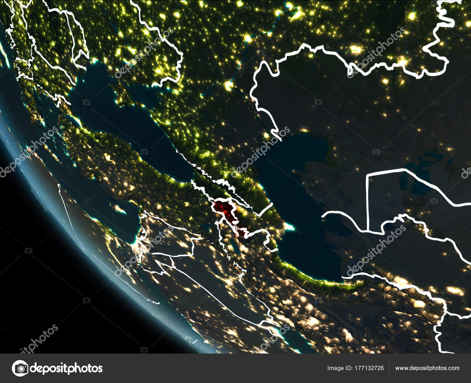 Satellite View Of Armenia At Night Stock Photo Image By Tom Griger 177132726