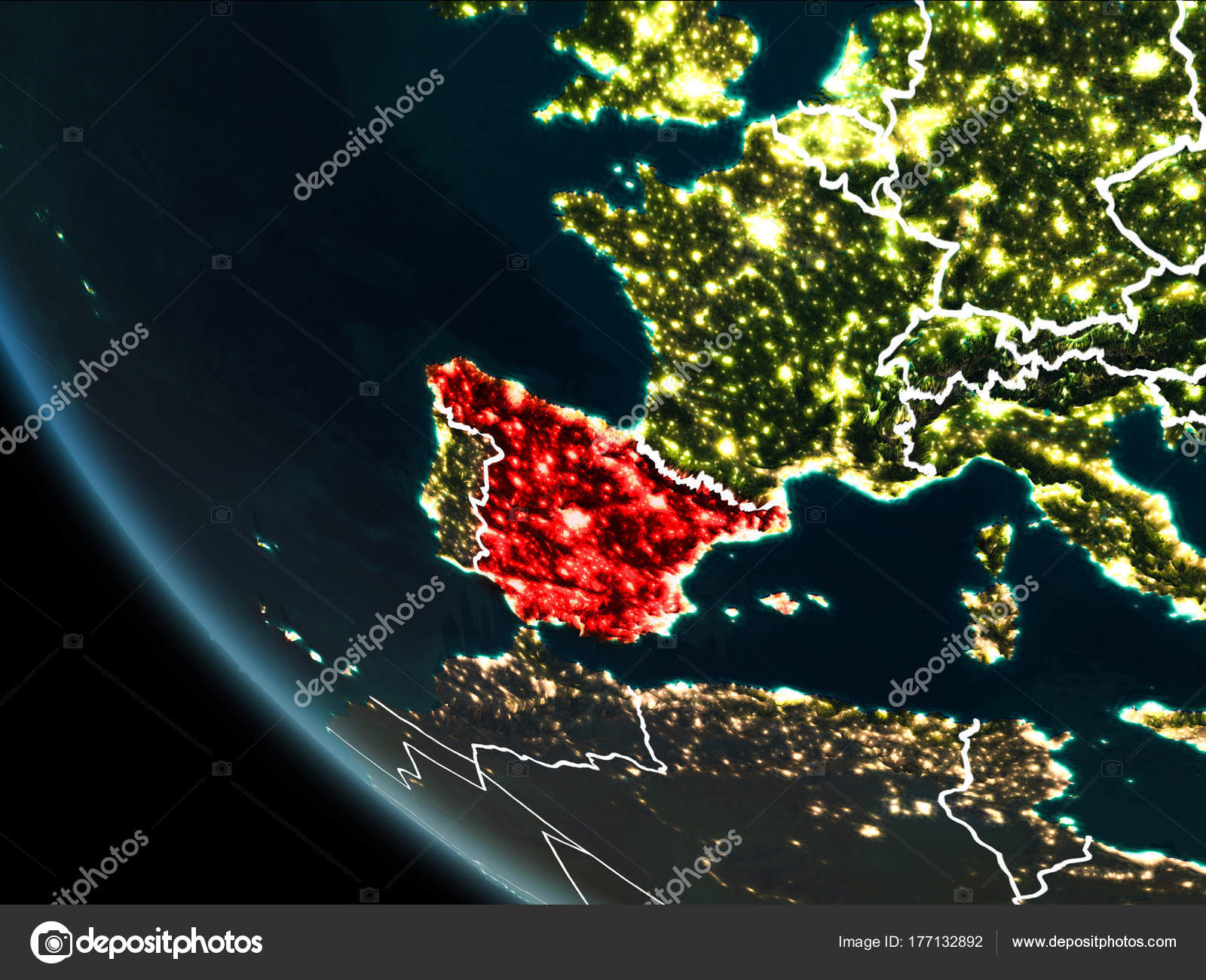 Satellite Map Of Spain.Satellite View Of Spain At Night Stock Photo C Tom Griger 177132892