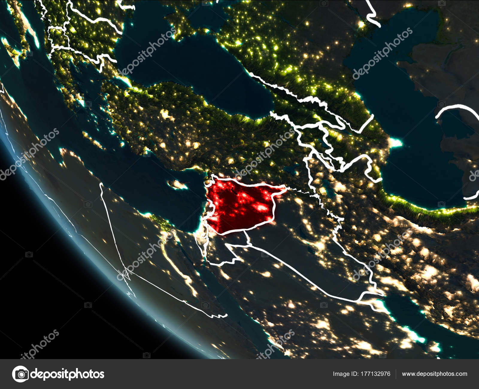 Satellite view of syria at night foto de stock tomiger 177132976 satellite view of syria highlighted in red on planet earth at night with borderlines and city lights 3d illustration elements of this image furnished by gumiabroncs Image collections