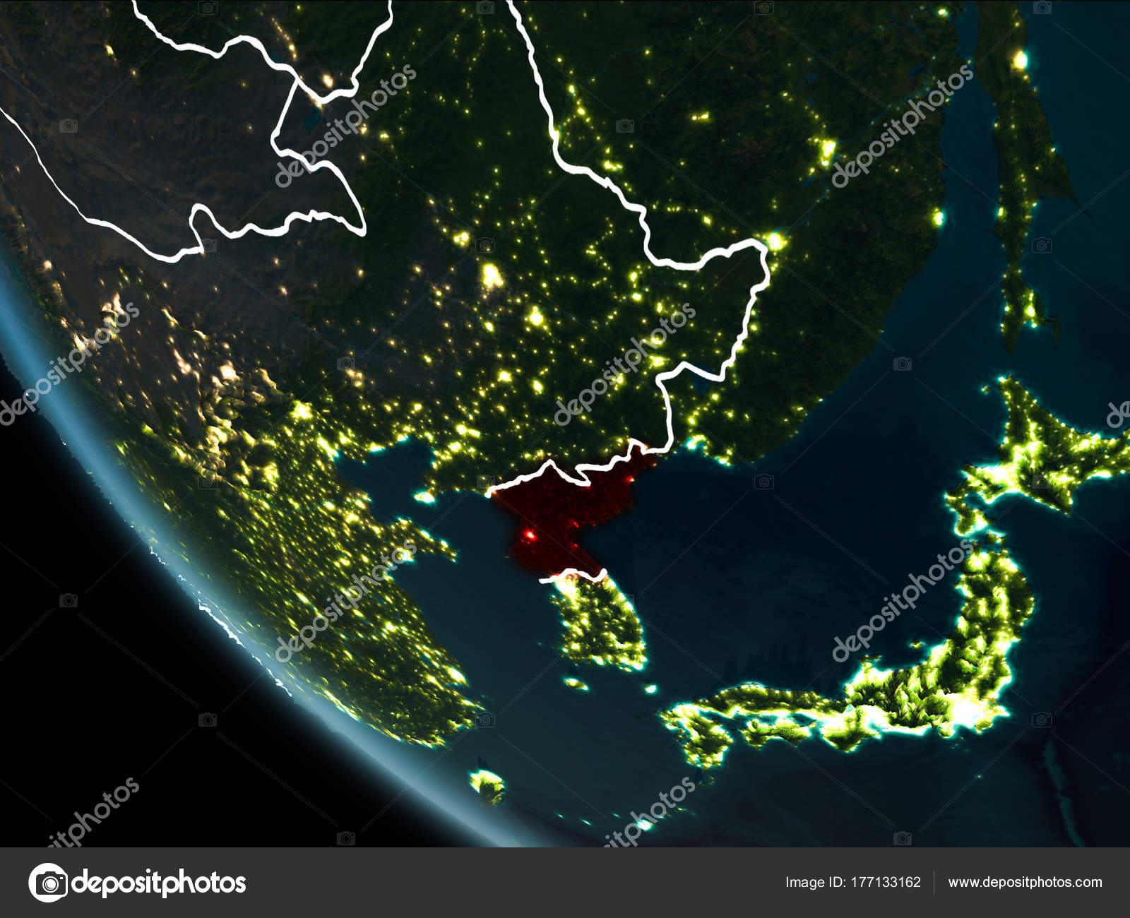 Satellite view of north korea at night stock photo tomiger satellite view of north korea highlighted in red on planet earth at night with borderlines and city lights 3d illustration gumiabroncs Choice Image